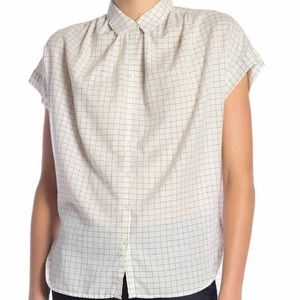 NWT Madewell Windowpane Blouse Button Up size L